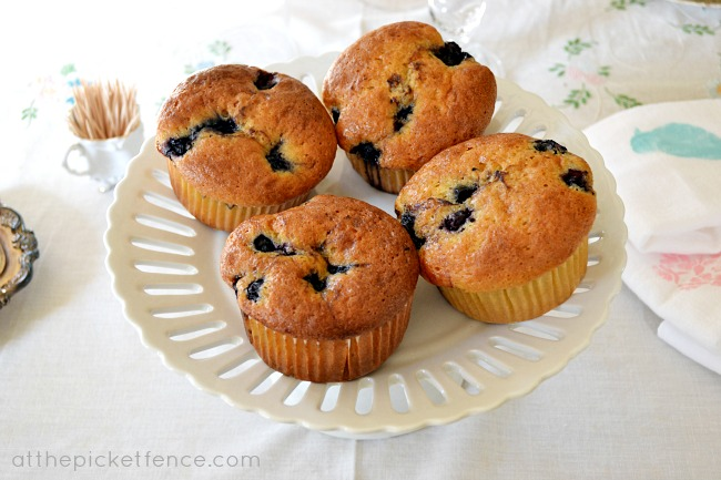 blueberry muffins At the Picket Fence