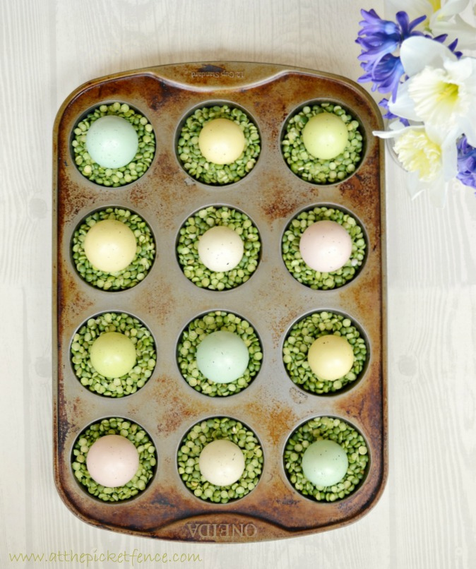 muffin tin split pea birds nests At the Picket Fence