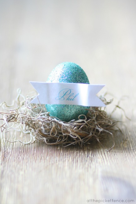 Glittered egg nest place cards www.atthepicketfence.com