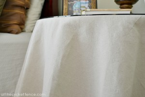 no sew drop cloth table skirt at the picket fence