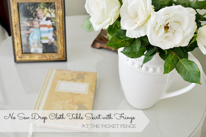 No Sew Drop Cloth Table Skirt with Fringe At the Picket Fence