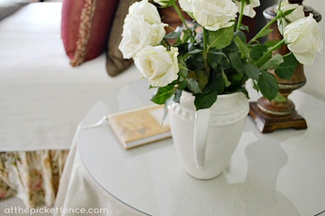 roses on bedside table At the Picket Fence