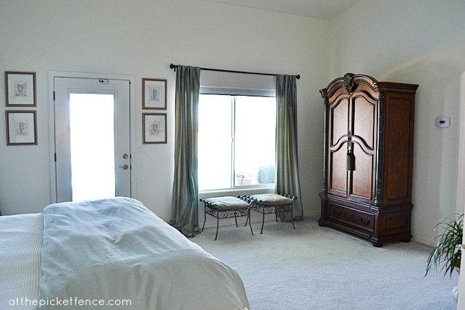 Mediterranean Desert Home Tour-Master bedroom from At The Picket Fence