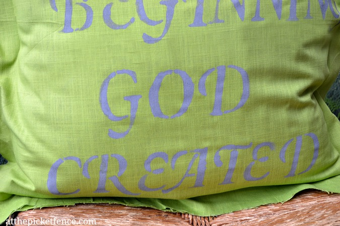 Creation Earth Day Pillow www.atthepicketfence.com