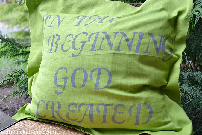 In the Beginning…a No-Sew Stenciled Pillow