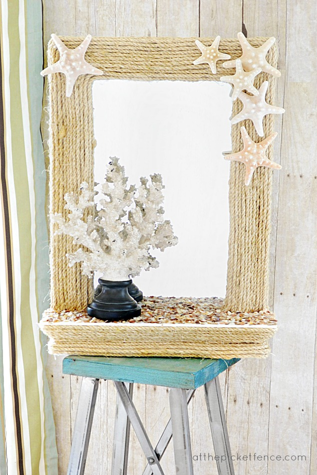 DIY Coastal Rope Mirror Makeover Challenge At The Picket