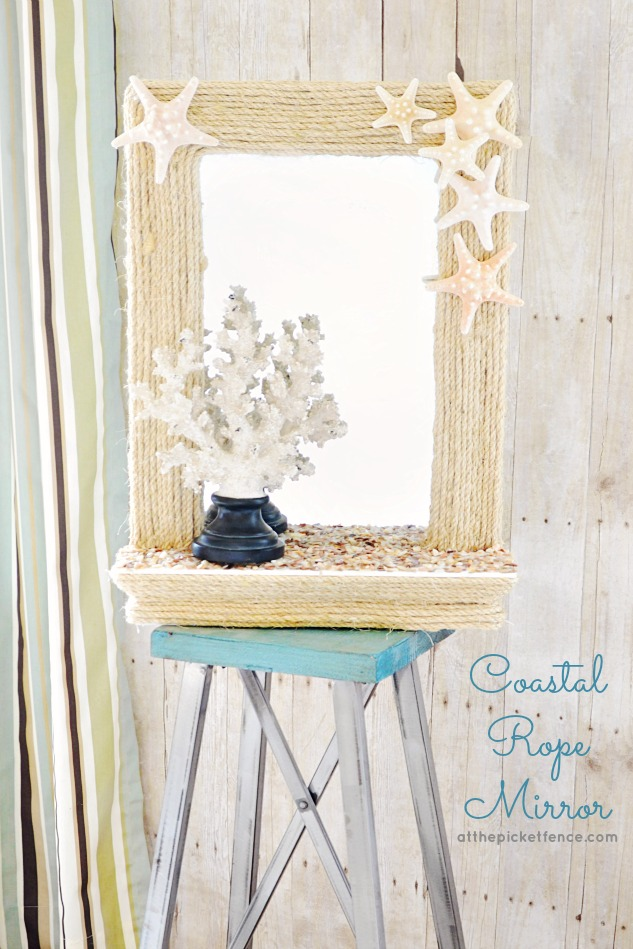 Diy Coastal Rope Mirror Makeover From Www Atthepicketfence