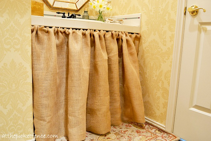 DIY burlap bathroom vanity skirt at the picket fence