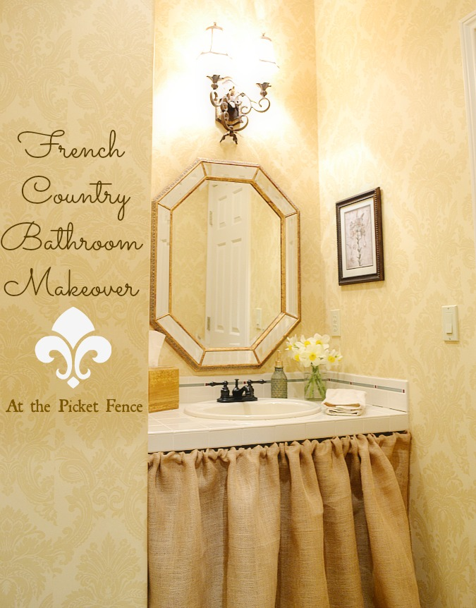 French Country Bathroom Makeover www.atthepicketfence.com