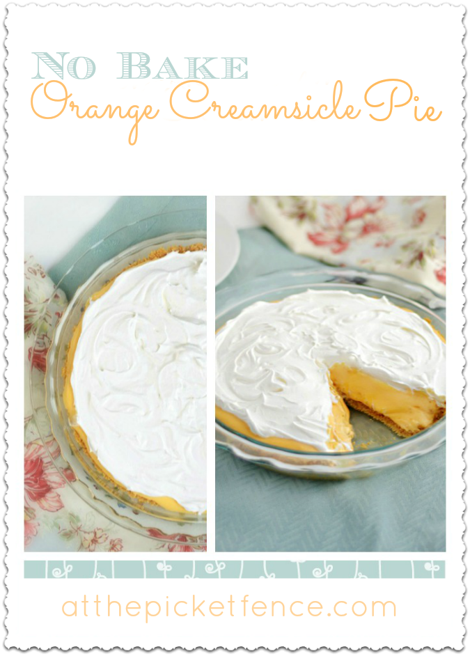 No Bake Orange Creamsicle Pie from www.atthepicketfence.com