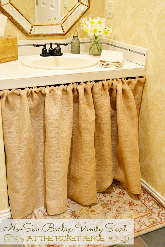 No-Sew Burlap Bathroom Vanity Skirt