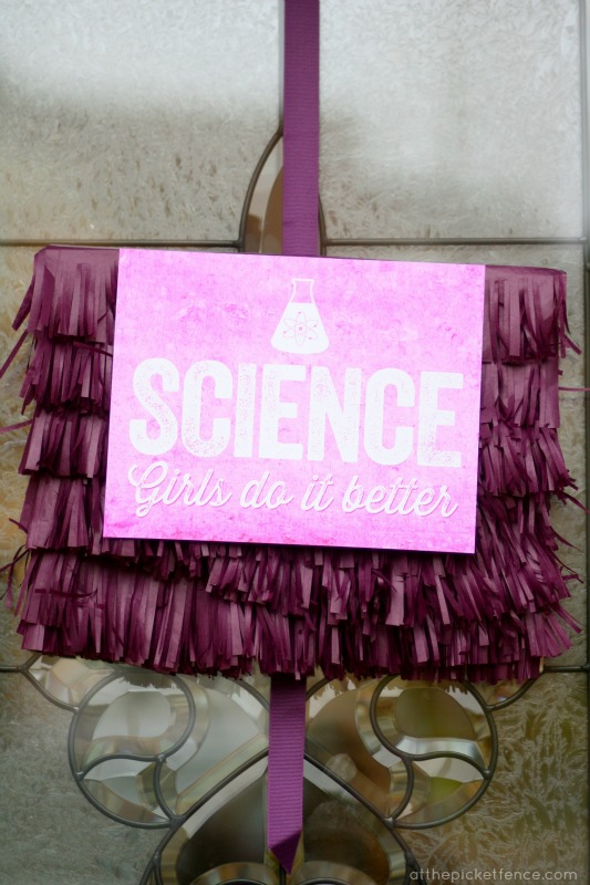 Science: Girls do it better sign for science birthday party At the Picket Fence