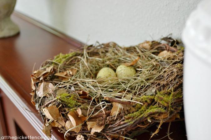 birds nest spring mantel www.atthepicketfence.com