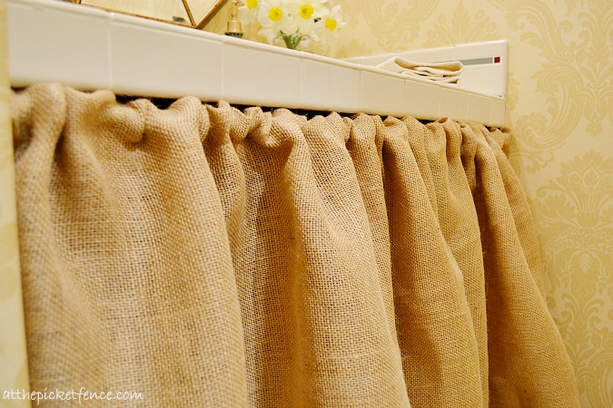 burlap bathroom vanity skirt At the Picket Fence
