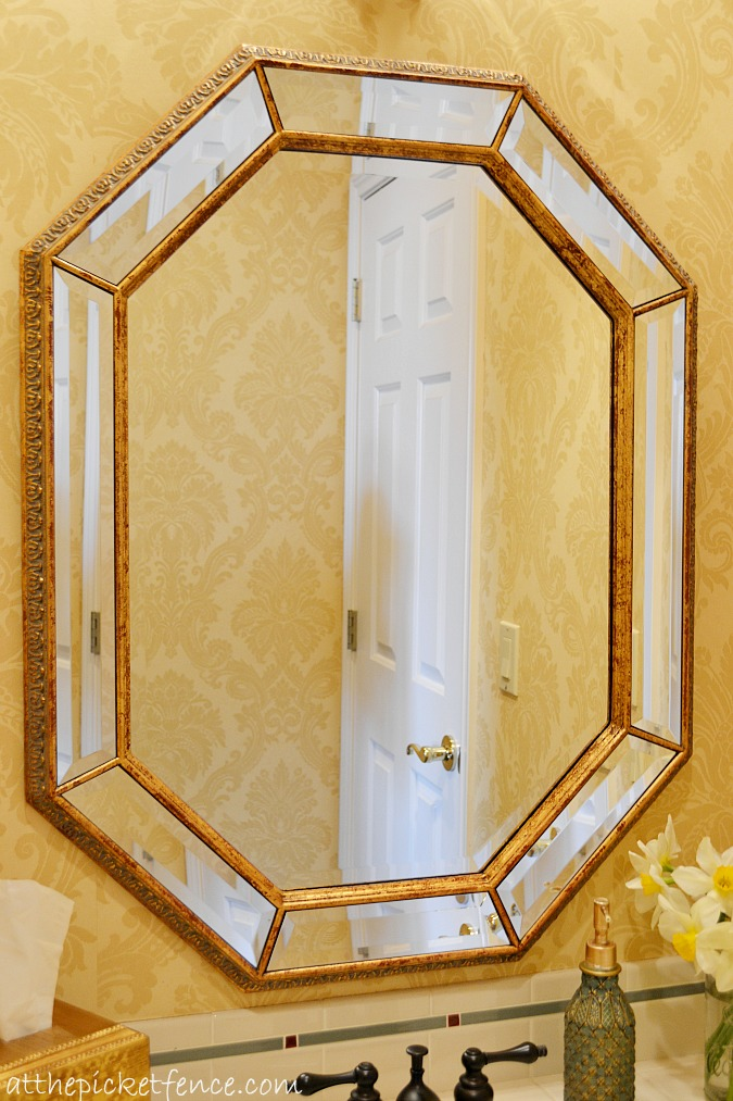 framed beveled bathroom mirror at the picket fence