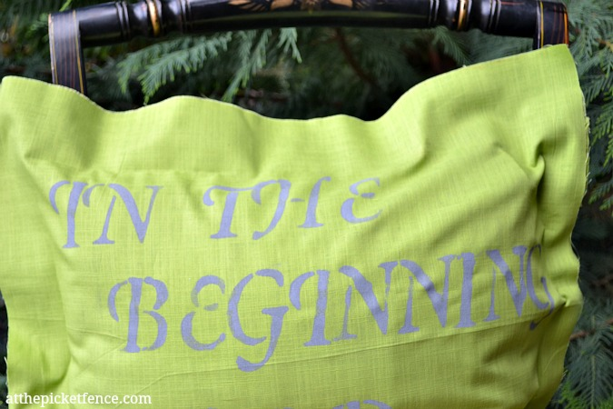 in the beginning creation pillow www.atthepicketfence.com