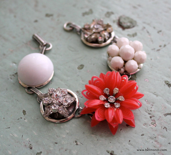 red and white flower bracelet