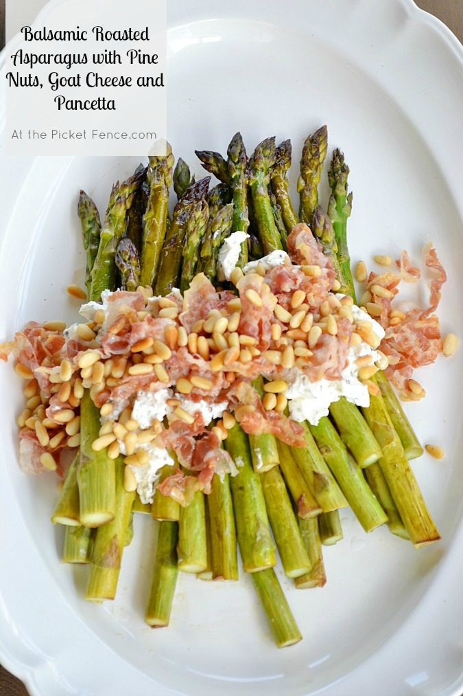 Balsamic Roasted Asparagus with Goat Cheese, Pancetta, Pine Nuts