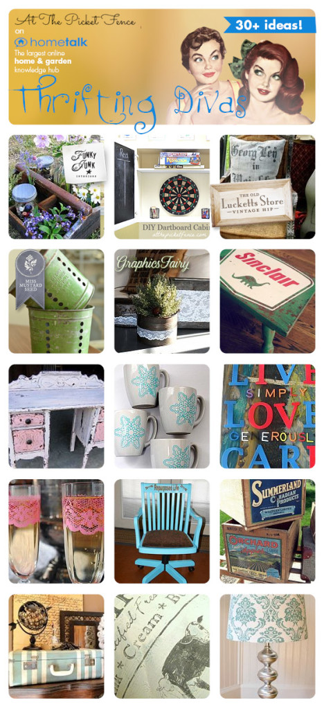 Round up of  30 projects from thift store finds atthepicketfence.com