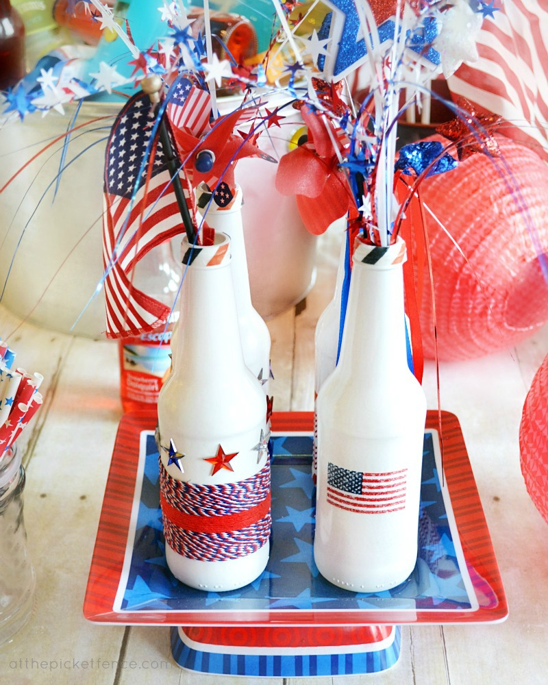 Patriotic Recycled Bottle Centerpiece from www.atthepicketfence.com