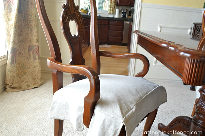 Dining Room Chairs Before After Arm Chair Drop Cloth Skirt Atthepicketfence