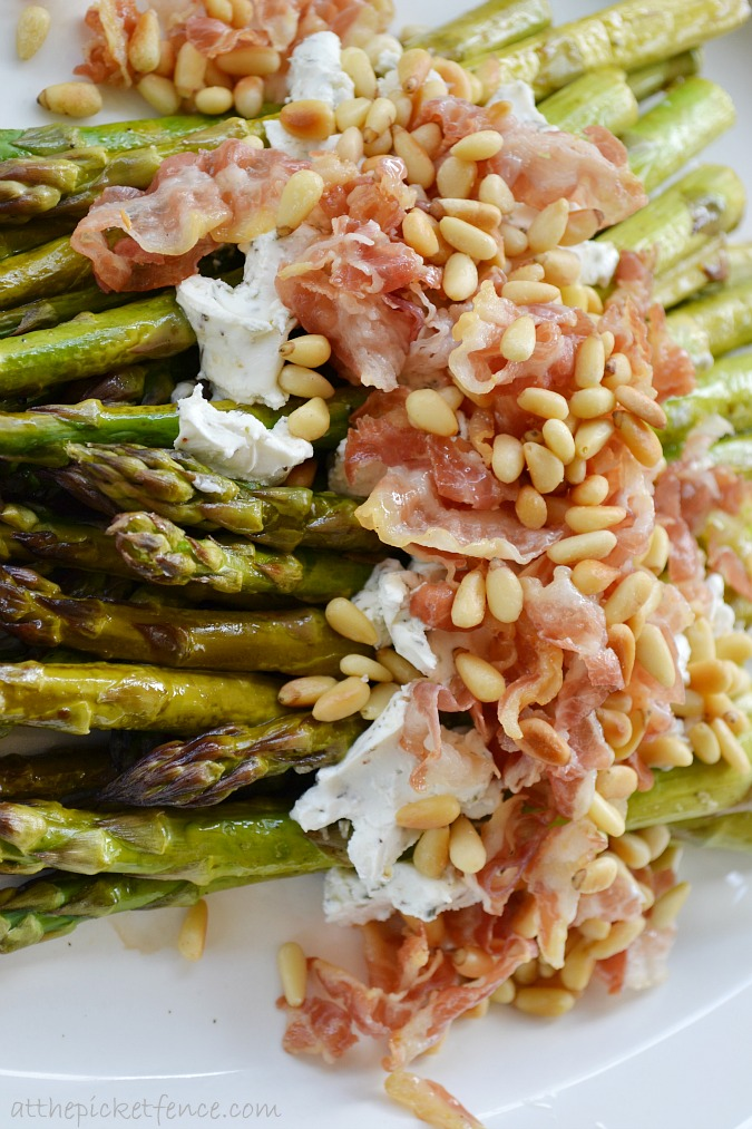 asparagus-with-goat-cheese-pine-nuts-pancetta