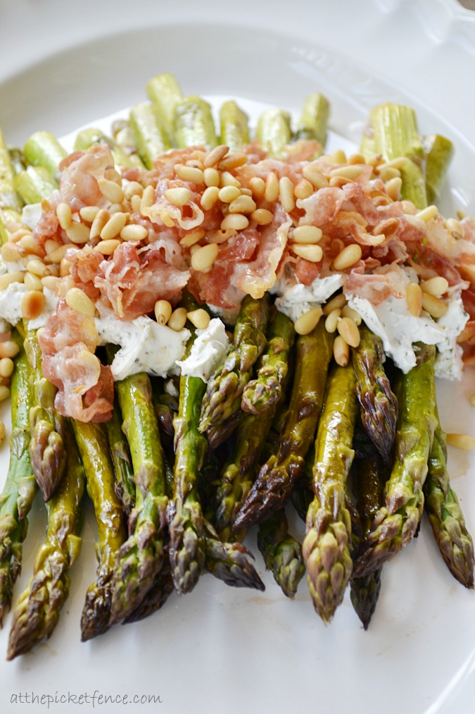 asparagus-with-lemon-goat-cheese-pine-nuts www.atthpicketfence.com