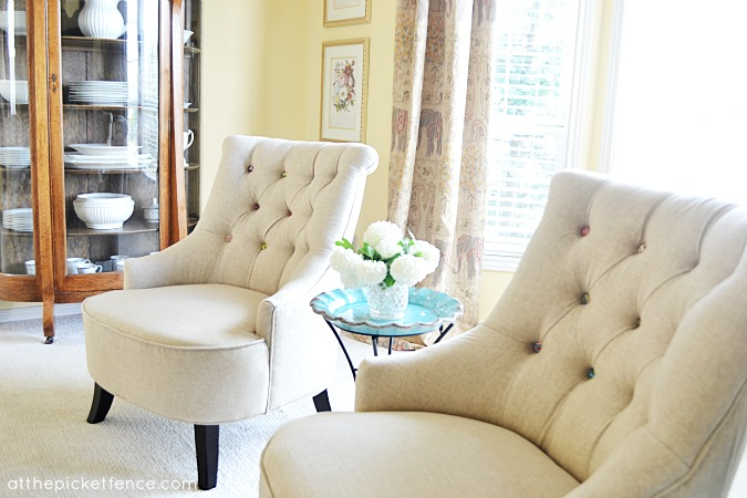 Charmant Button Tufted Chairs Www Atthepicketfence Com Living Room Makeover Reveal  At The Picket Fence