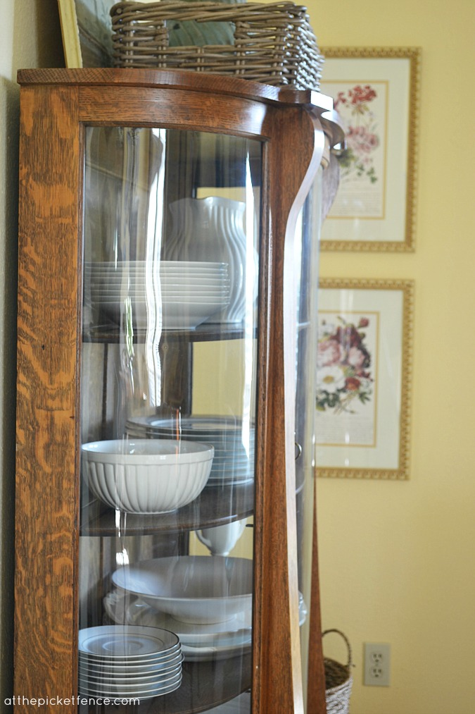 china cabinet with cream ware www.atthepicketfence.com