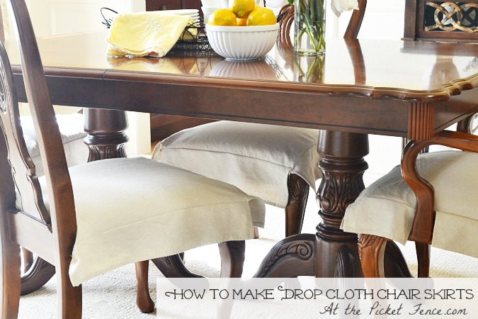 Dining Room Chair Skirts drop cloth chair skirts - at the picket fence