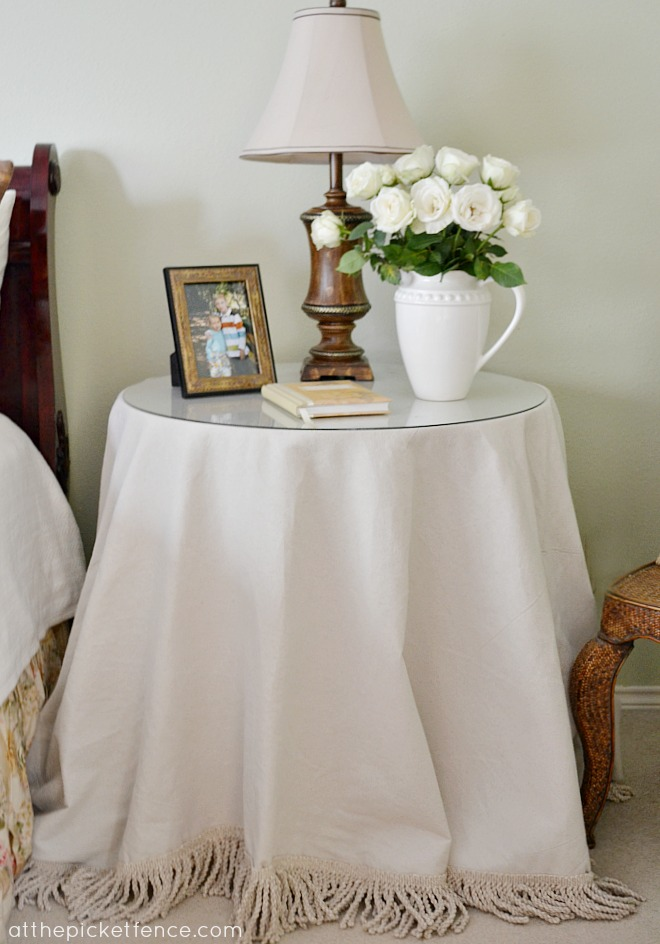 no-sew-fringed-drop-cloth-table-skirt-At-the-Picket-Fence