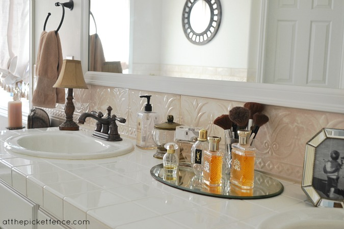 white_tile_bathroom_counter atthepicketfence.com