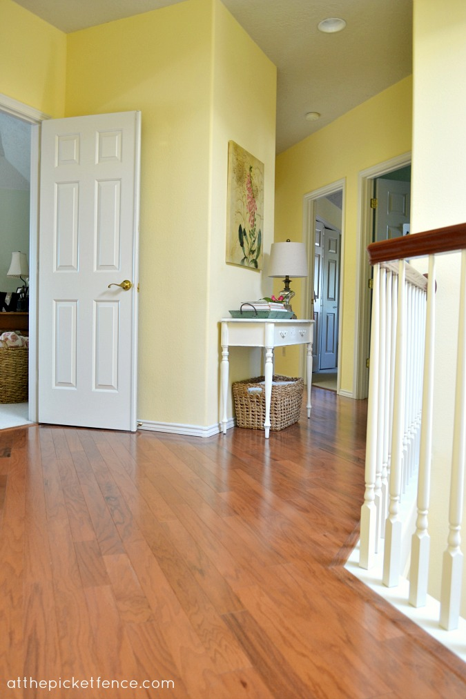 Hardwood floor hallway makeover at the picket fence for Hardwood floors upstairs