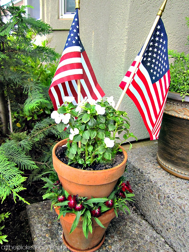 potted victory garden 4th of July decor atthepicketfence.com