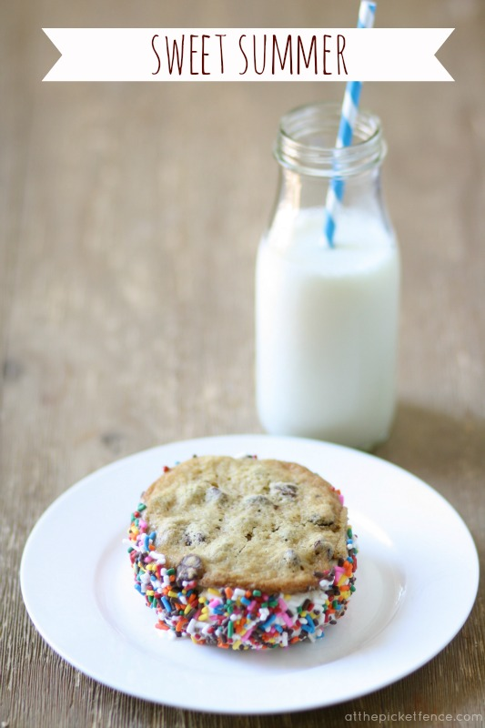 homemade ice cream sandwiches with sprinkles atthepicketfence.com