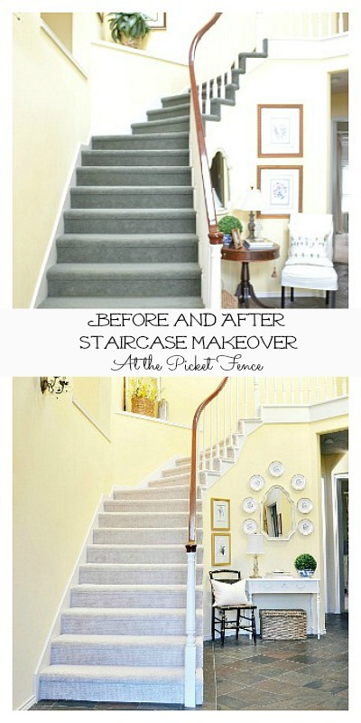 Before and After Staircase Makeover atthepicketfence.com