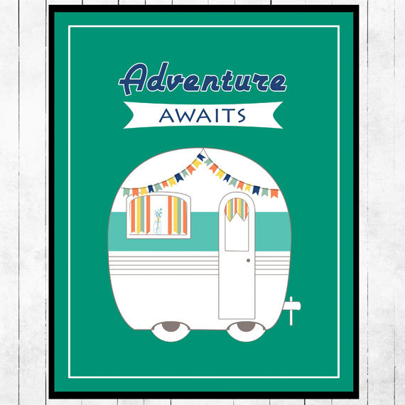 Adventure Awaits Retro Poster from Curly Willow
