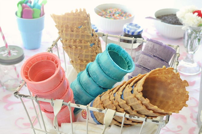 basket of ice cream cones for ice cream party atthepicketfence.com