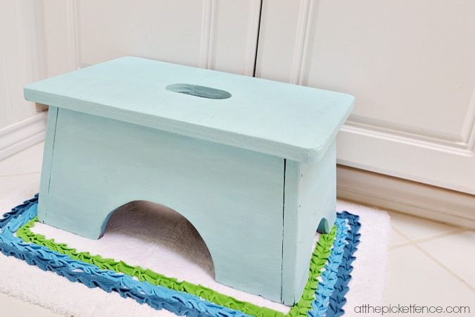 blue wooden stool in kids bathroom atthepicketfence.com