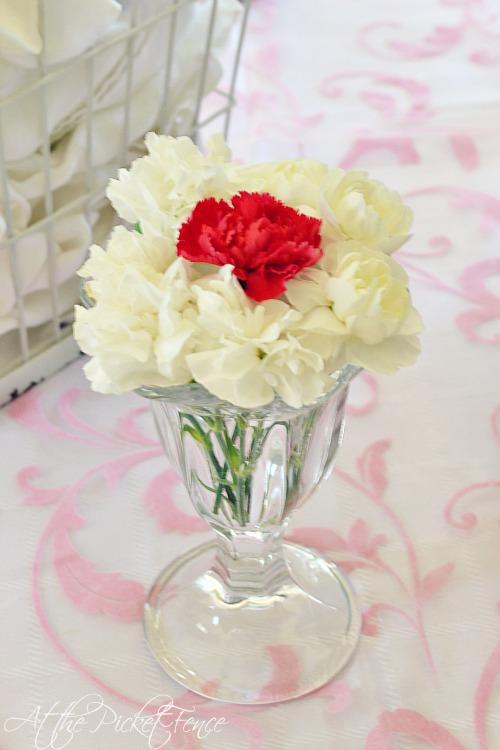 carnation ice cream sundae flower arrangement atthepicketfence.com