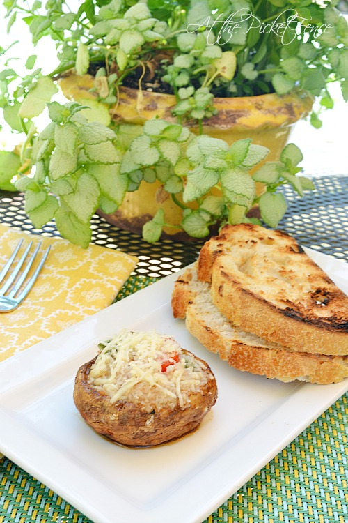grilled bruschetta stuffed mushrooms atthepicketfence.com