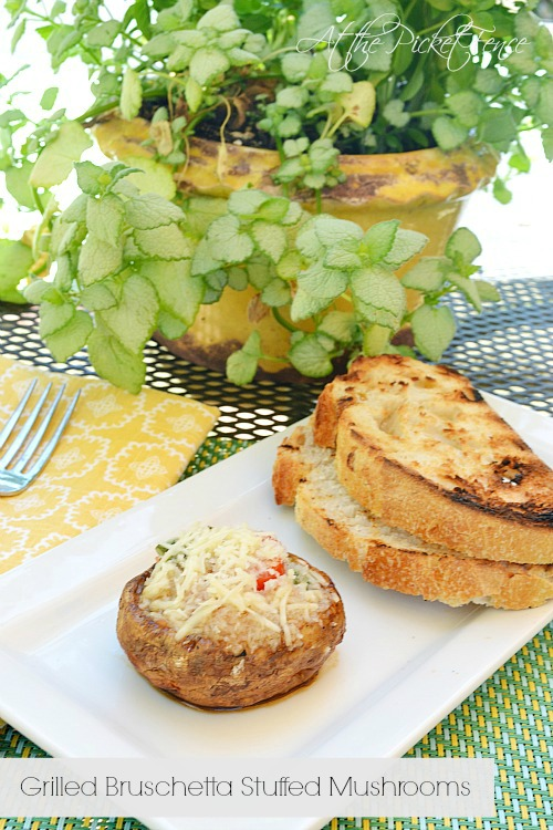 easy grilled bruschetta stuffed mushrooms from www.atthepicketfence.com