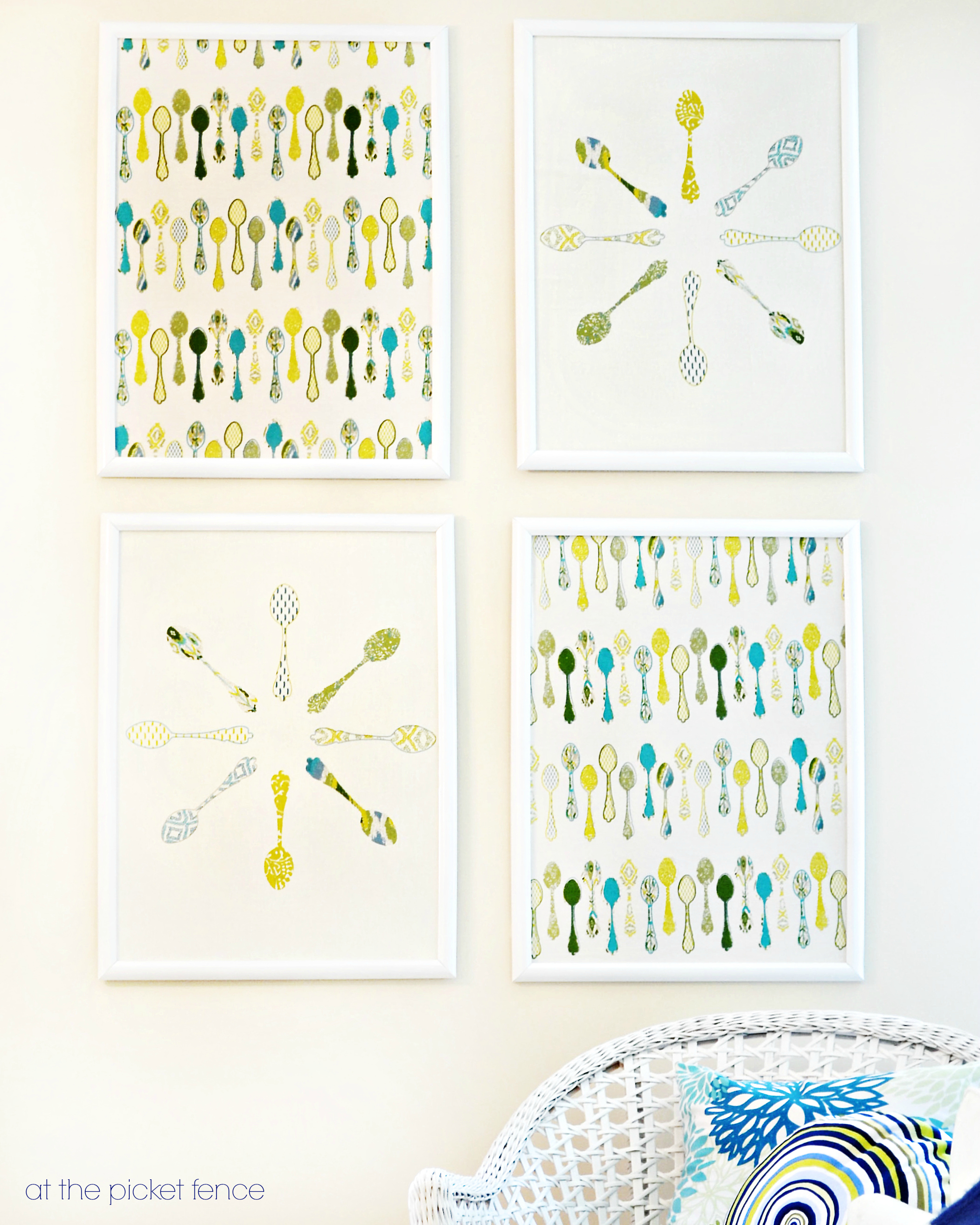 Turn kitchen towels into framed wall art at the picket fence for Kitchen framed wall art
