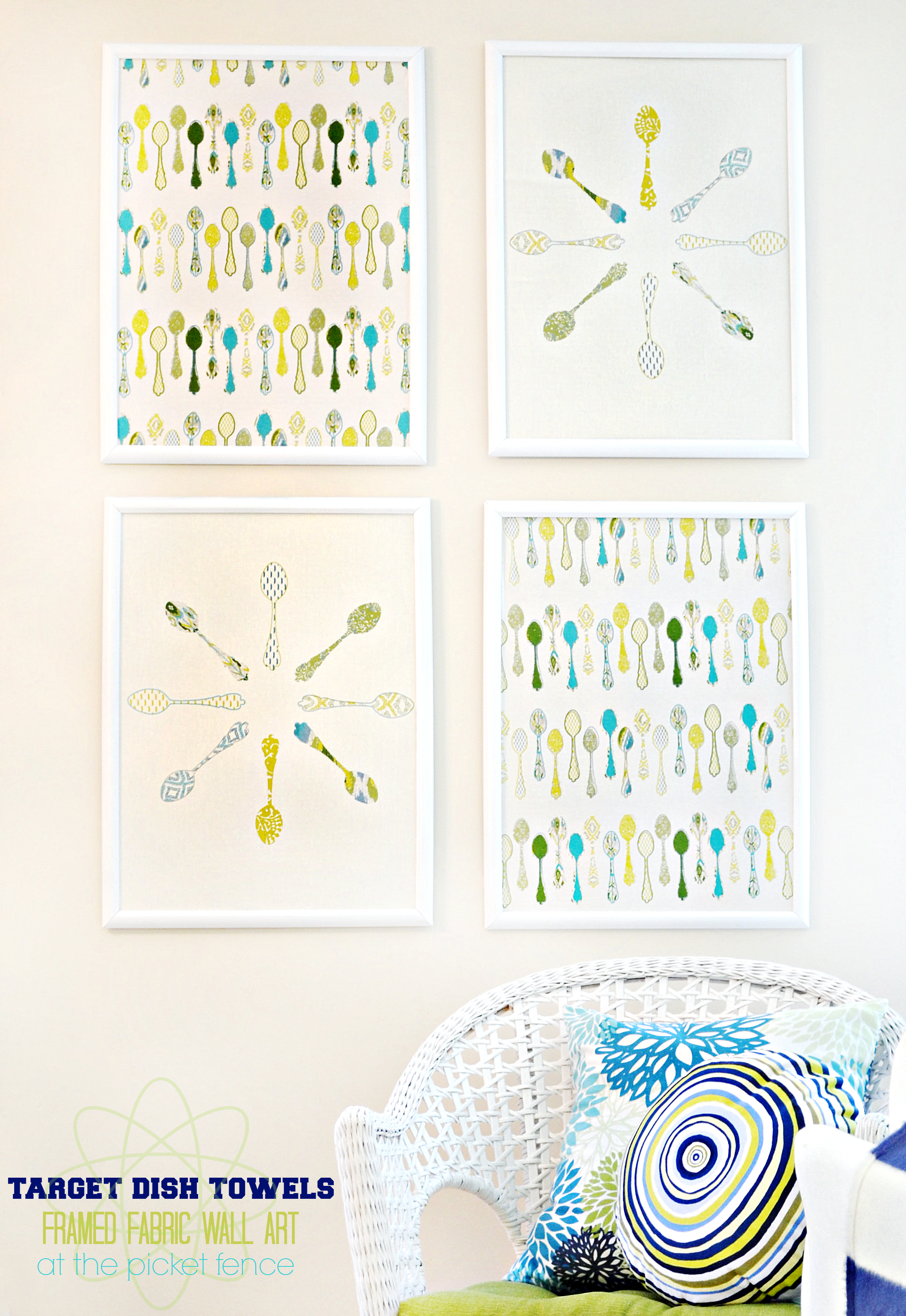 How to Make Framed Fabric Wall Art with Target Kitchen Towels!