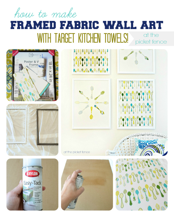 How to Make Framed Fabric Wall Art with Target Kitchen Towels tutorial