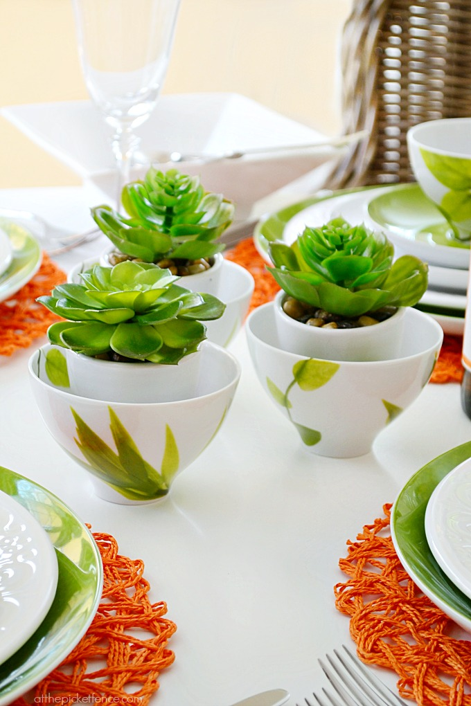 Mikasa Table Setting Ideas ~succulents in rice bowls