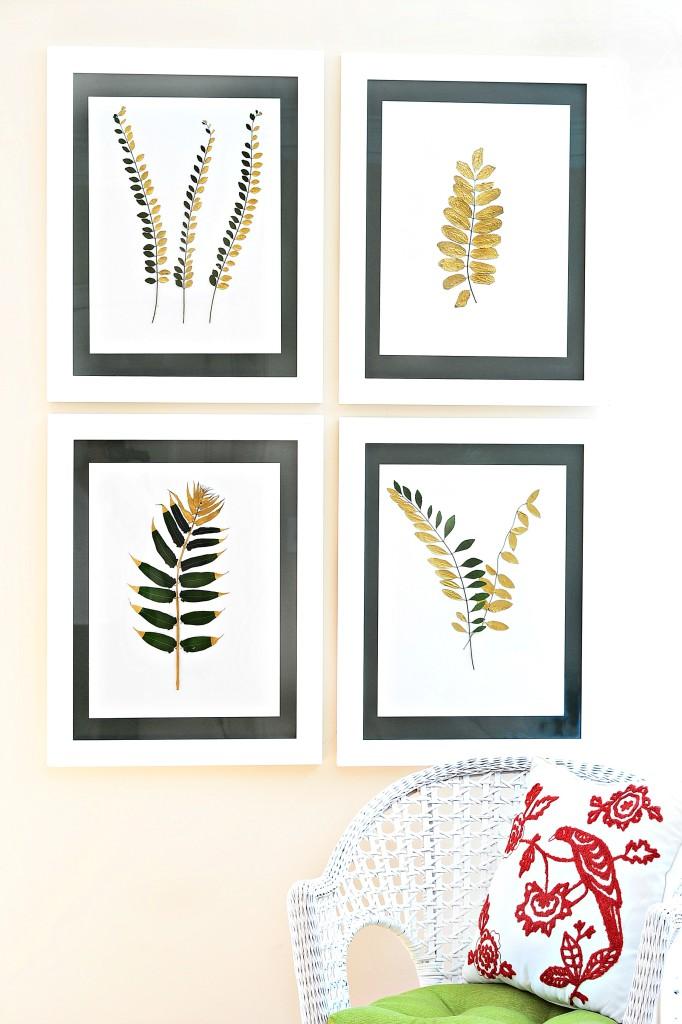 gilded and framed botanicals