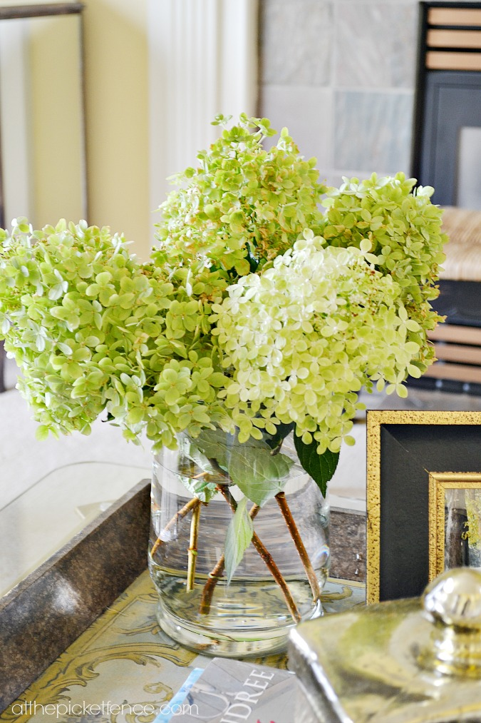 hydrangeas on coffee table