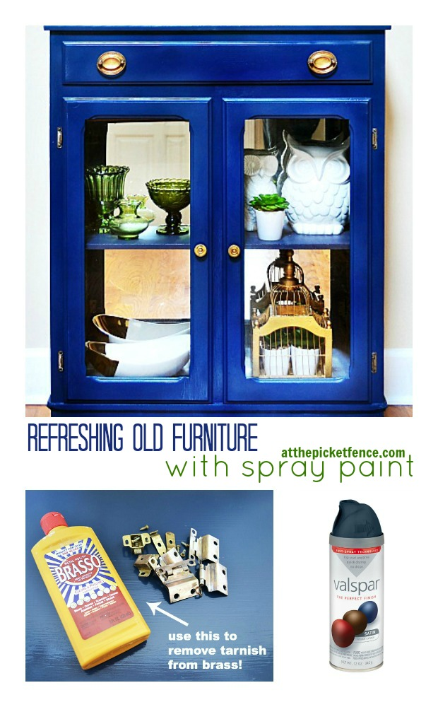 refreshing old furniture with spray paint