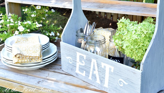 stenciled_dining_caddy_with_mason_jars atthepicketfence.com